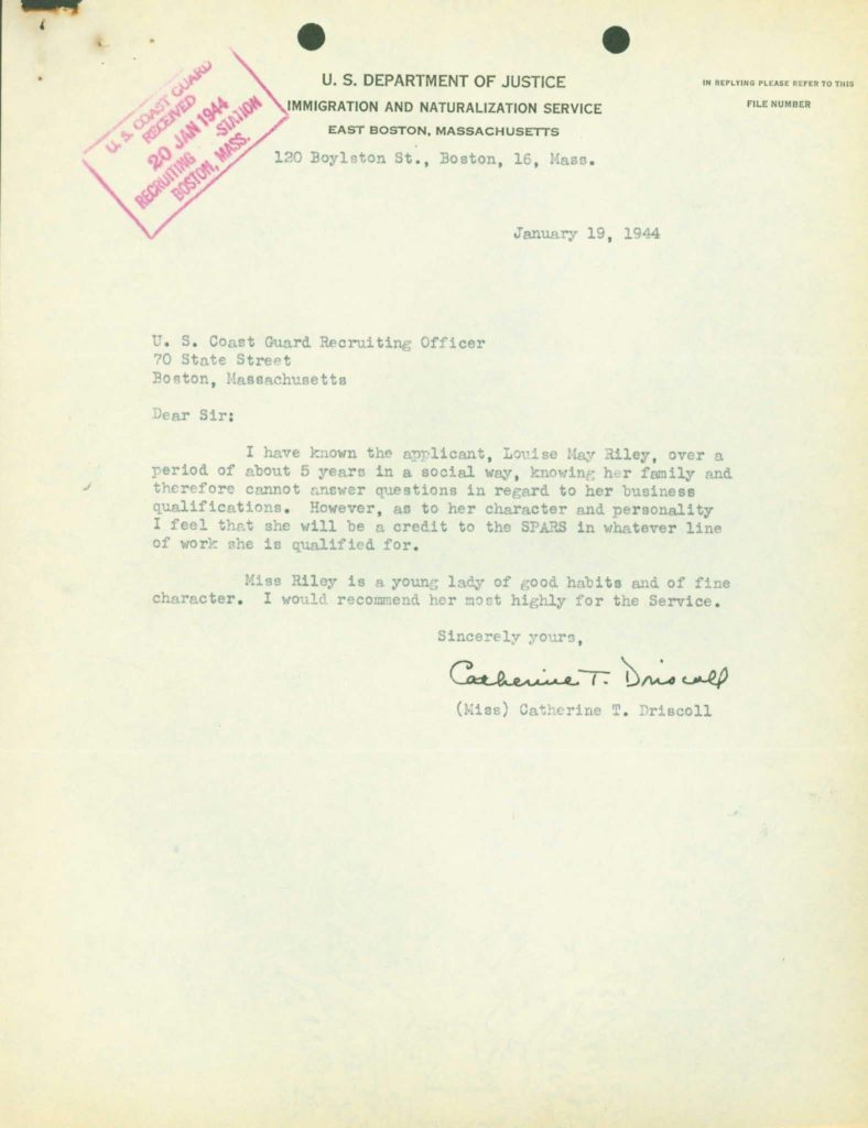 WWII Coast Guard military service record-immigration reference letter