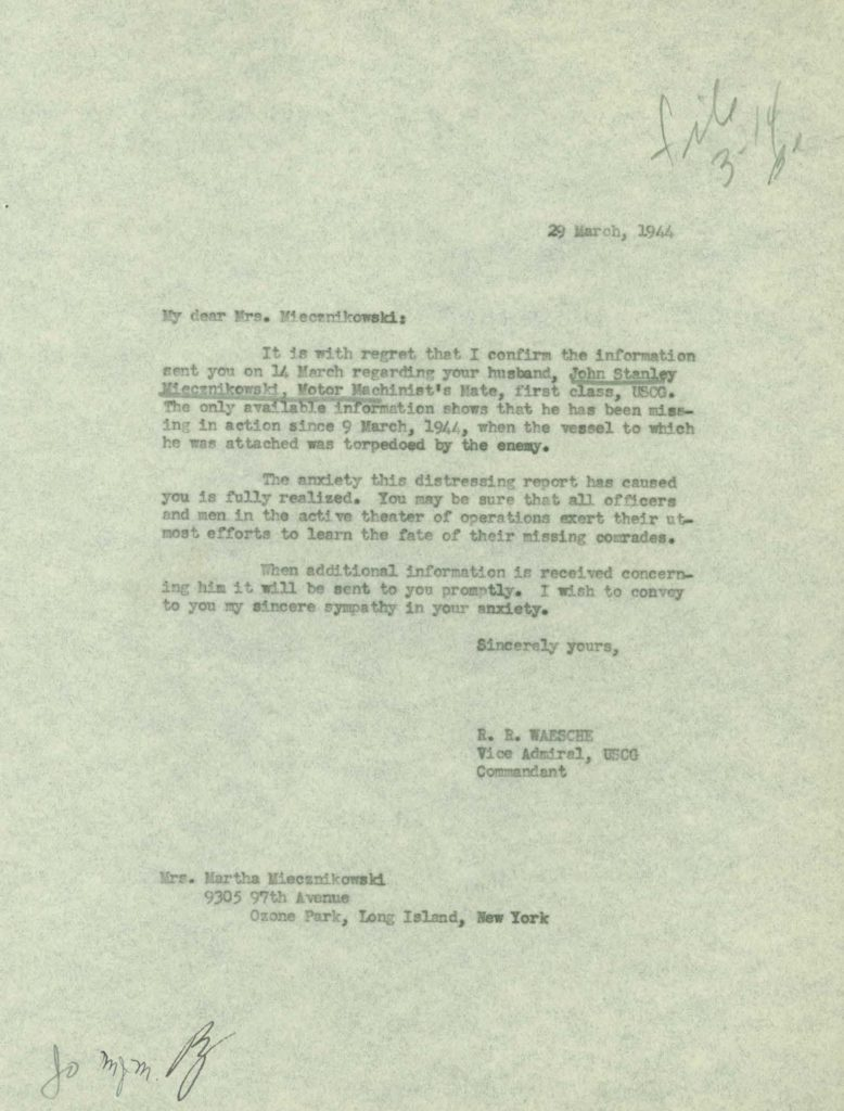 WWII Coast Guard military service record-correspondence example letter