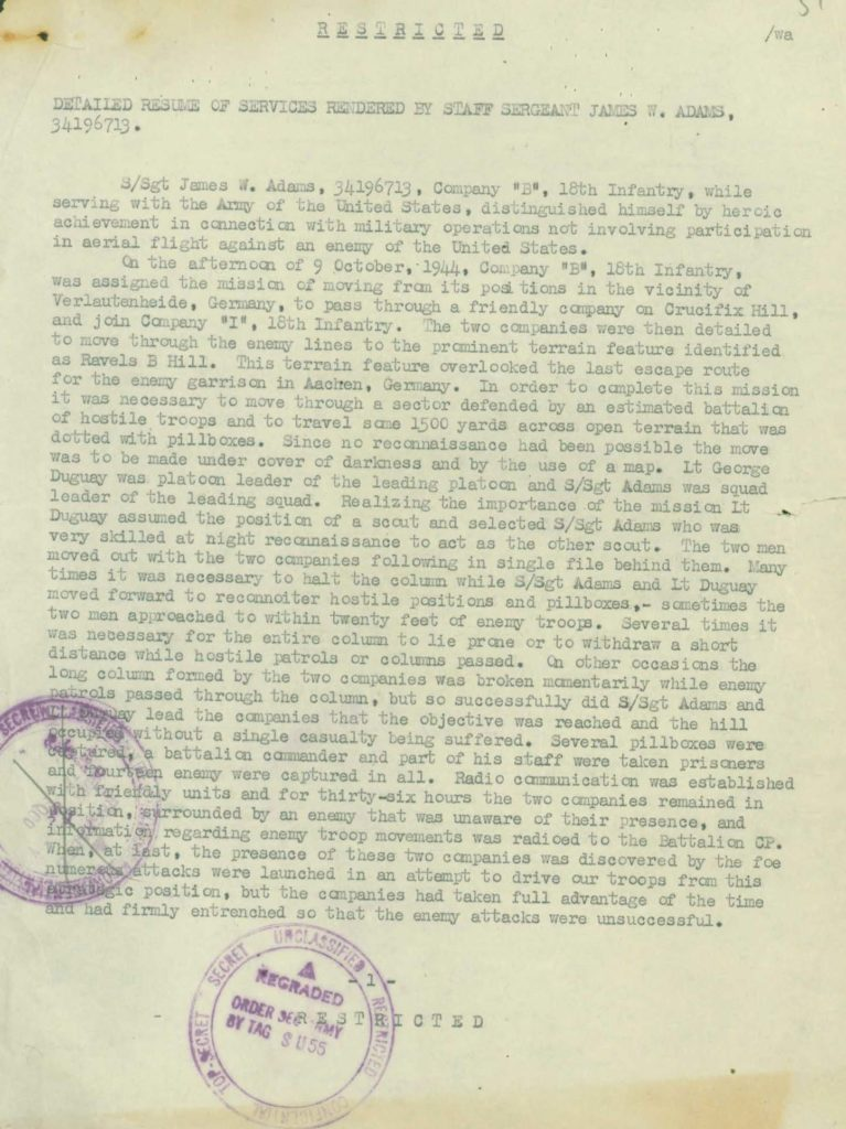 WWII Army military service record-medal citation