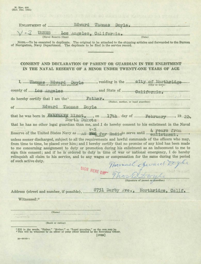 WWI Navy military service record-family consent form to enlist minor