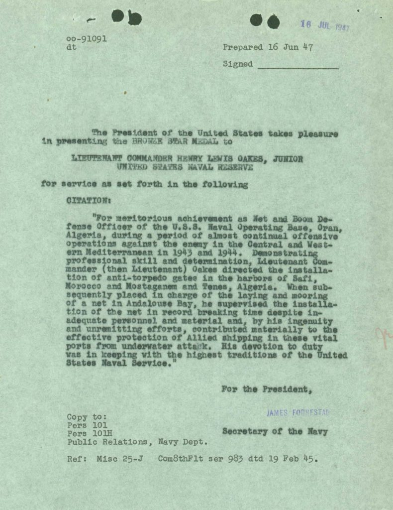 Bronze star award citation from WWII Navy military service record