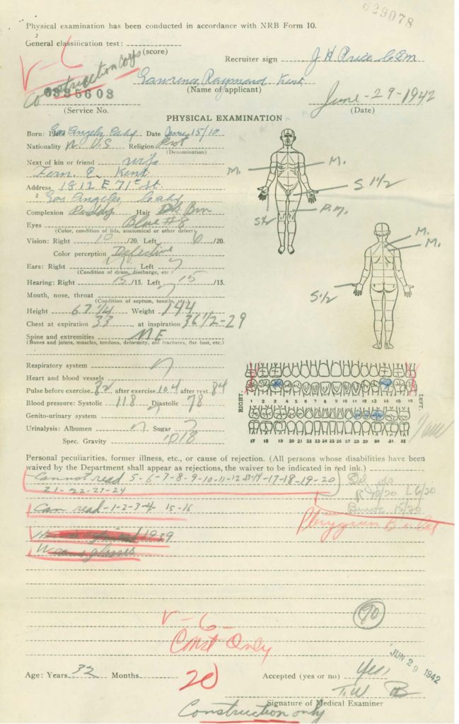 Physical examination medical repot from WWII Navy military service record