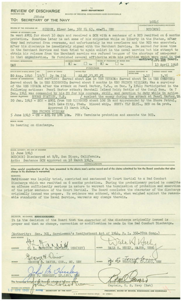 WWII Navy military service record discharge review-disciplinary report