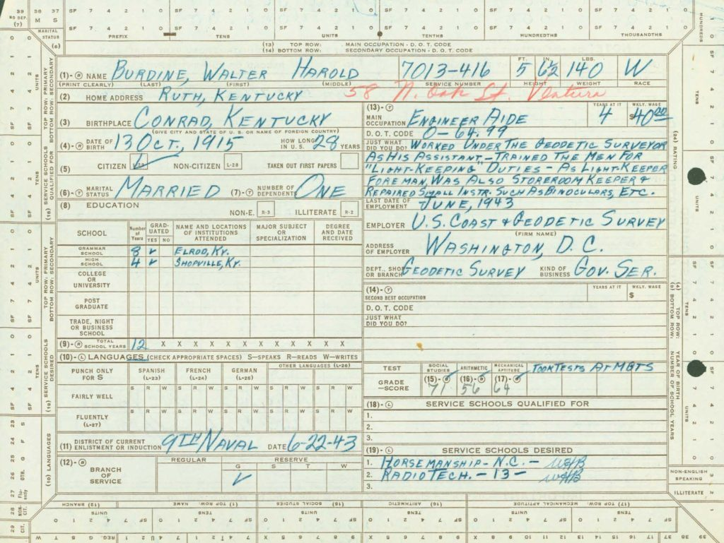 WWII Coast Guard military service record-qualifications