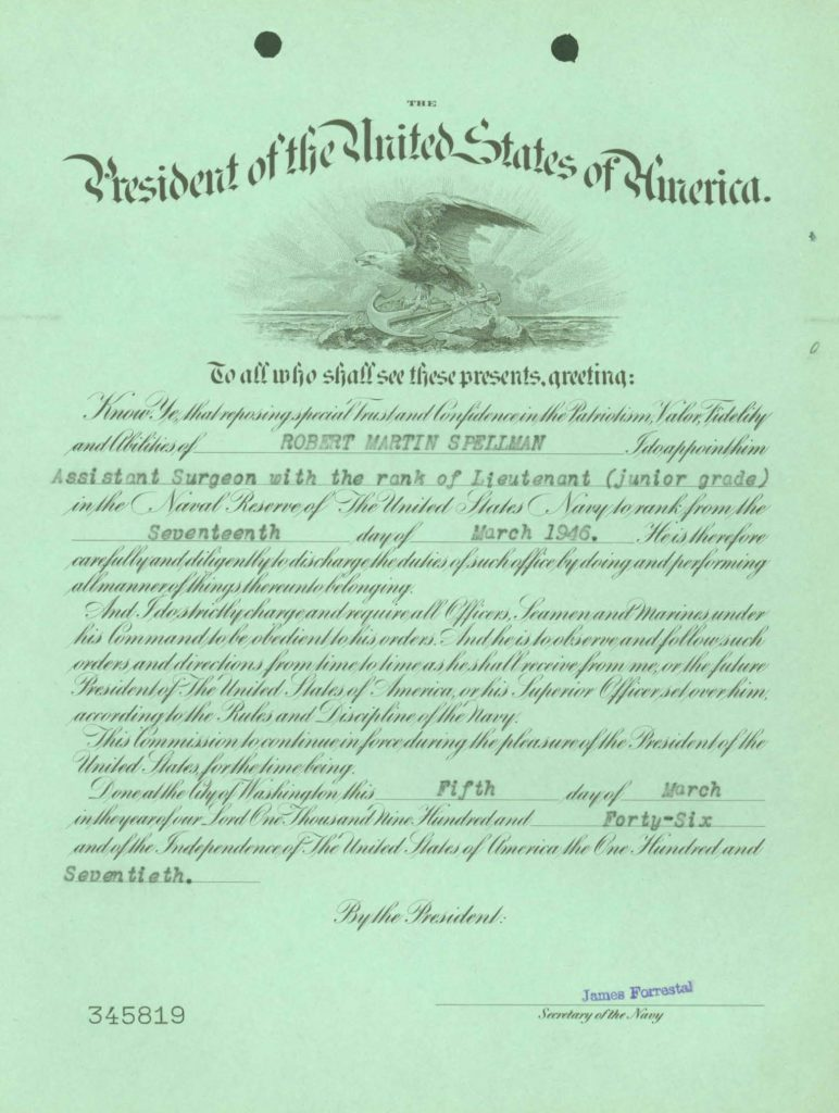 WWII Navy military service record-officer promotion order