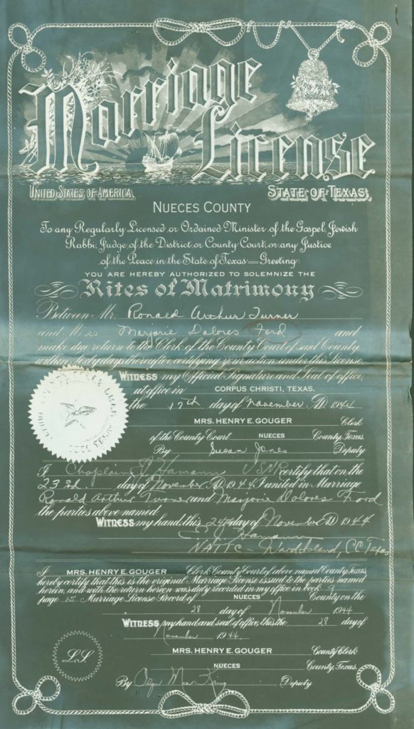 WWII Navy W.A.V.E. military service record-marriage license genealogy records