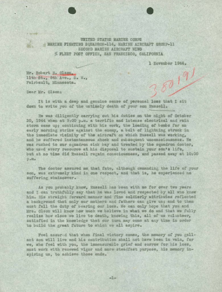 WWI Navy military service record killed in action letter
