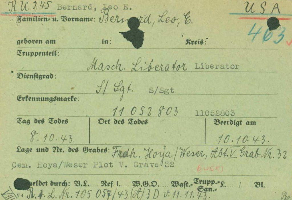 I.D.P.F. WWII burial report from prisoner of war