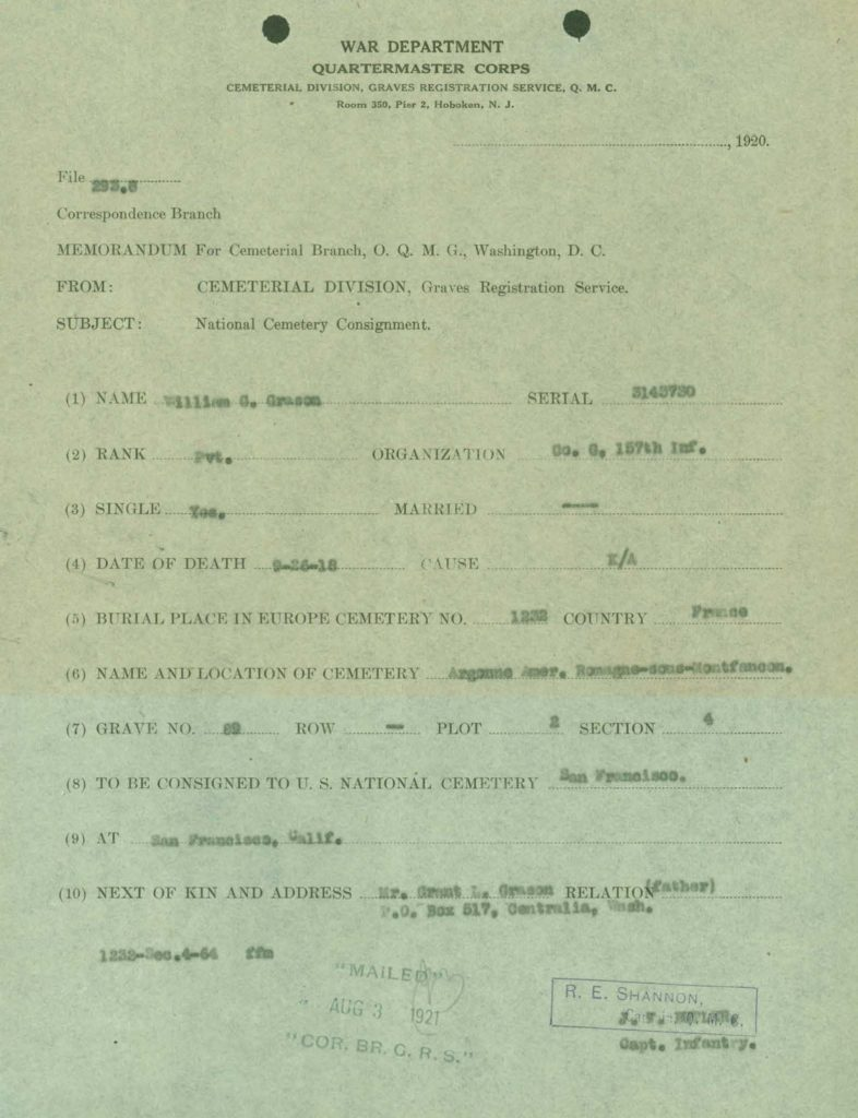 WWI I.D.P.F. national cemetery consignment document
