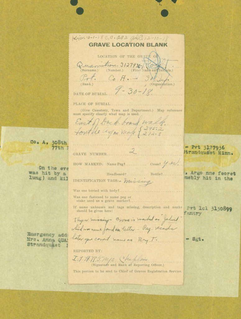 WWI I.D.P.F. grave location paperwork