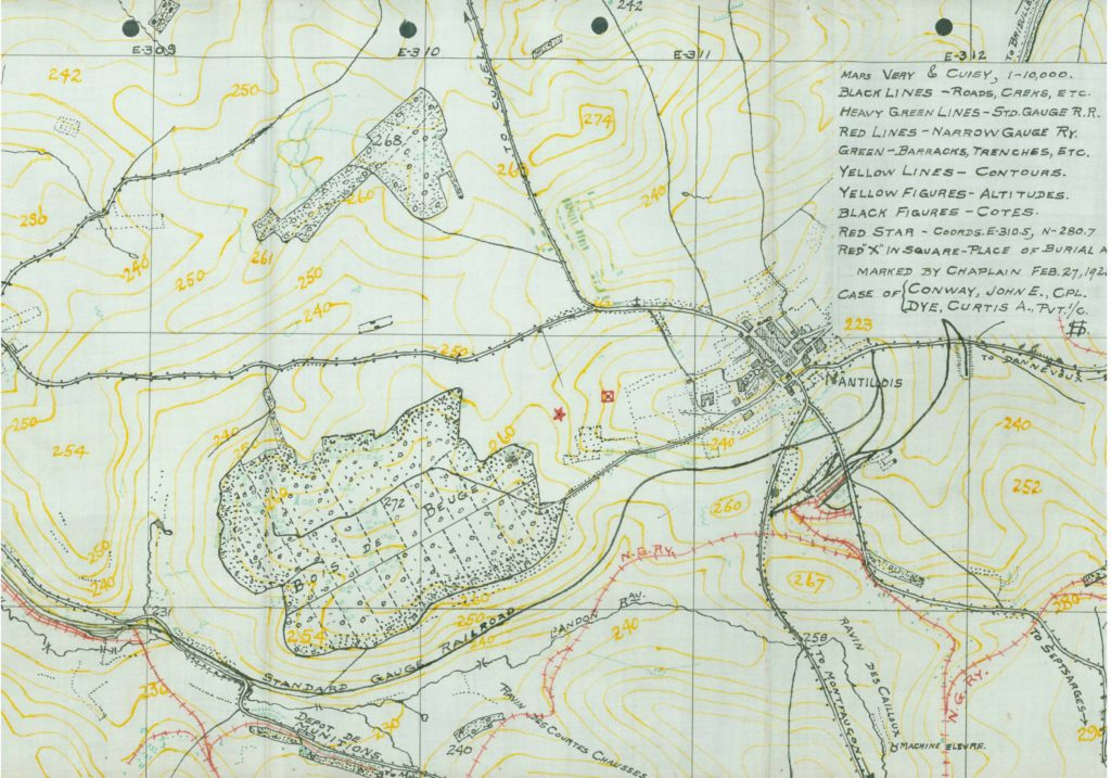 WWI death investigation burial map