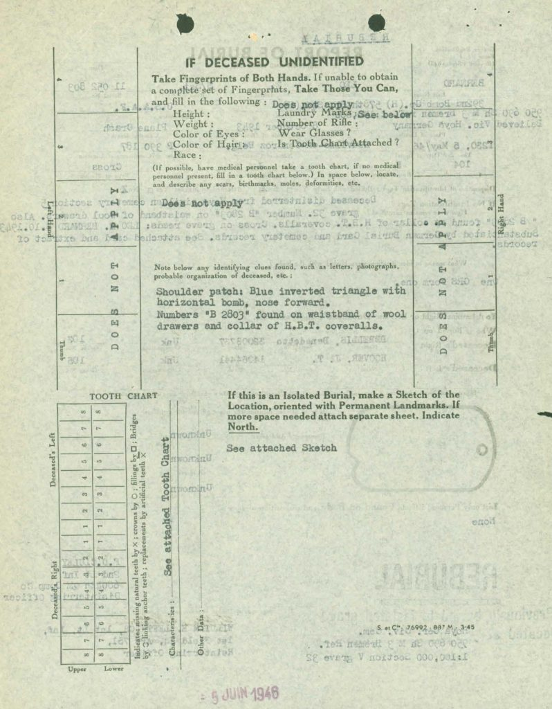 WWII I.D.P.F burial records -casualty identification