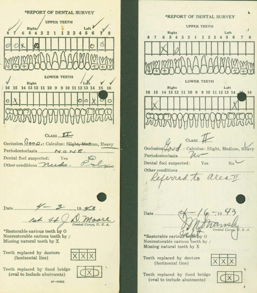 WWII I.D.P.F. dental records casualty identification