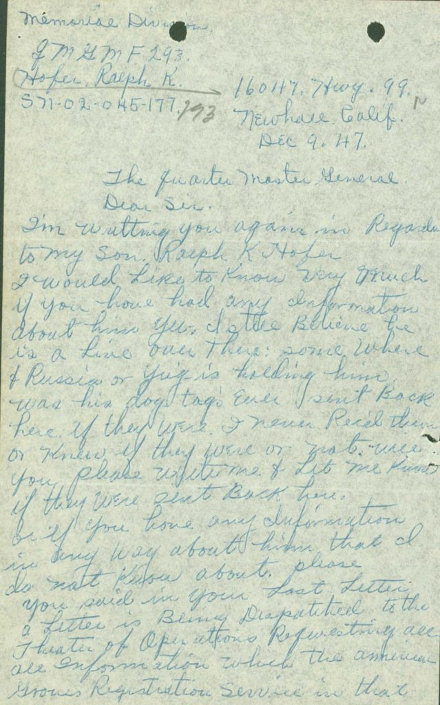 Family letter from WWII I.D.P.F. KIA casualty