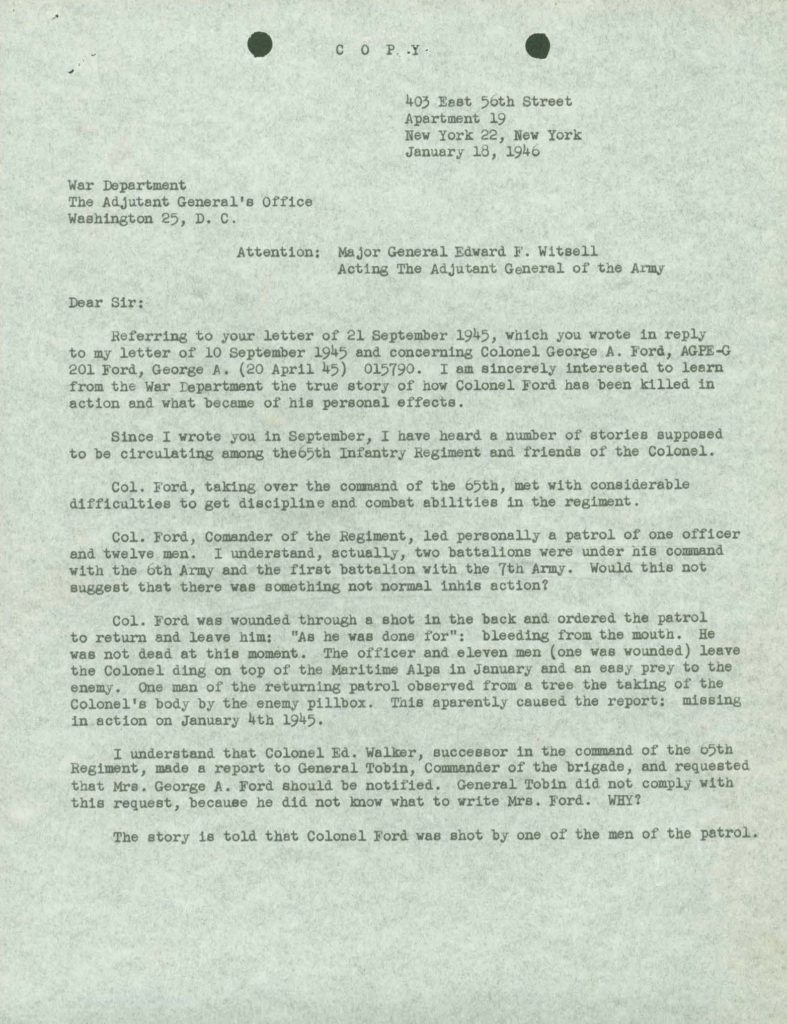 WWII KIA casualty letter from IDPF