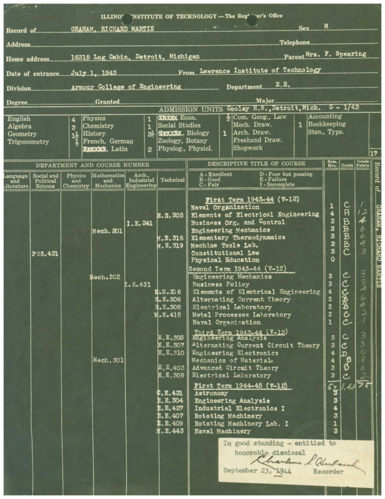 WWII officer Navy college transcript from WWII O.M.P.F.