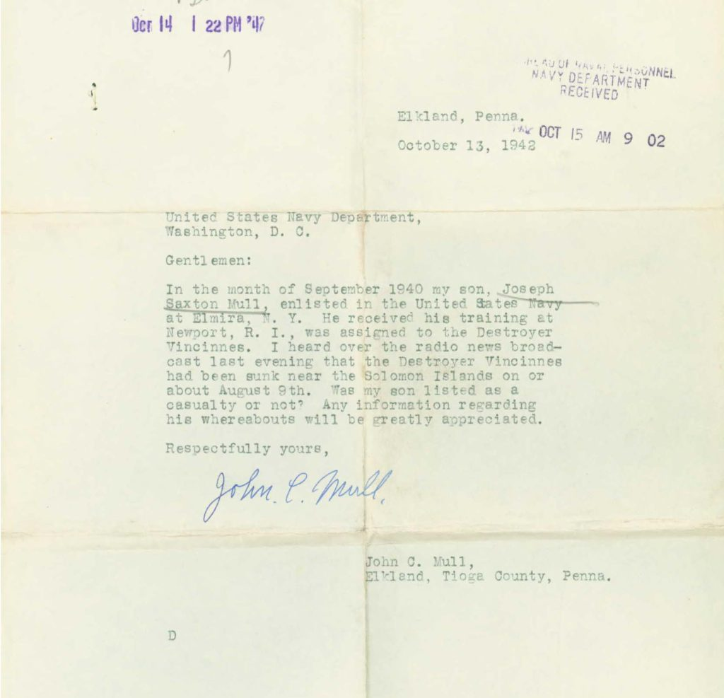 Family letter correspondence from WWII Navy O.M.P.F.
