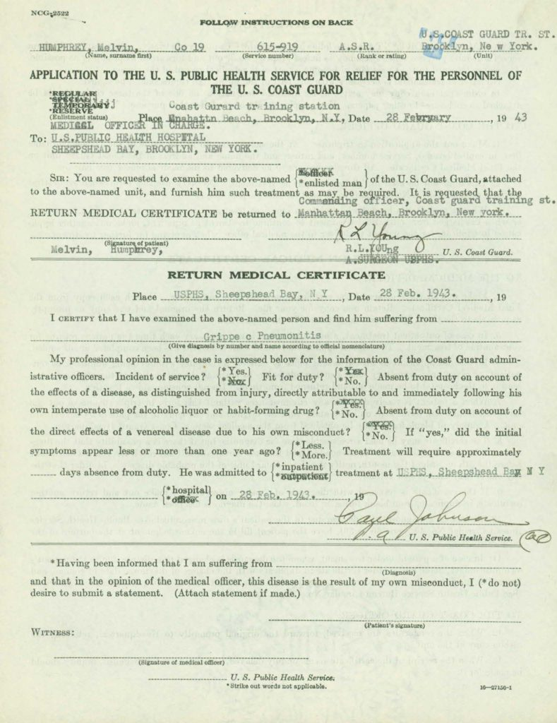 Medical records from WWII Coast Guard OMPF